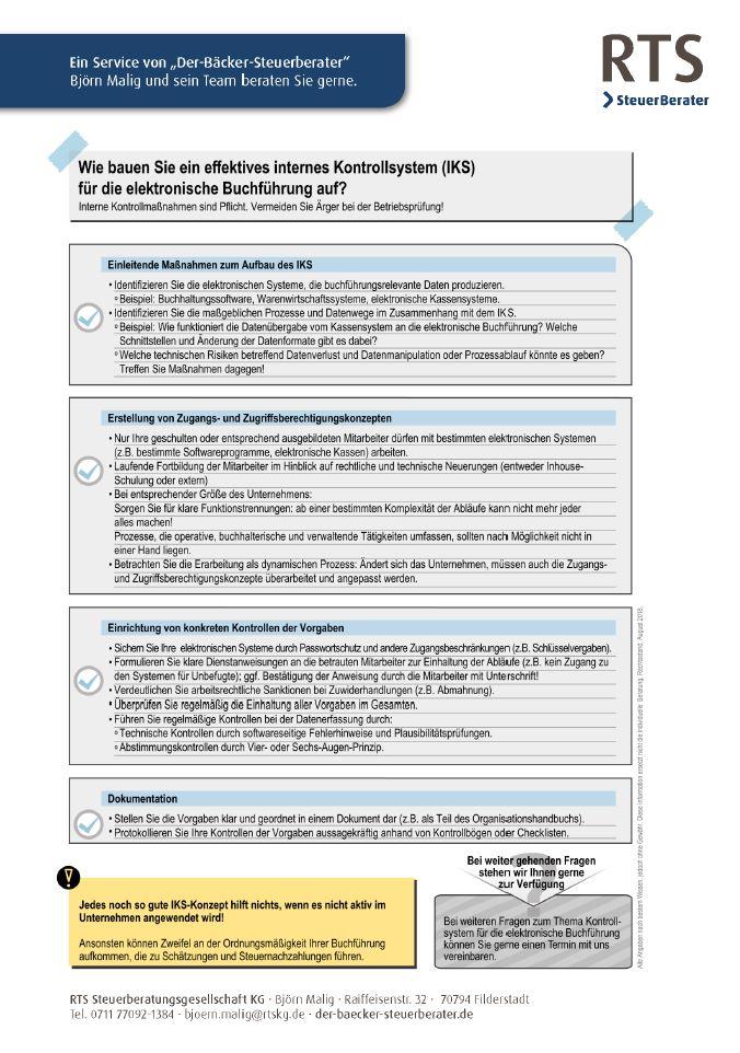 Der Bäcker Steuerberater, Stuttgart, Filderstadt, Aufbau internes Kontrollsystem, Checkliste, elektronische Buchführung