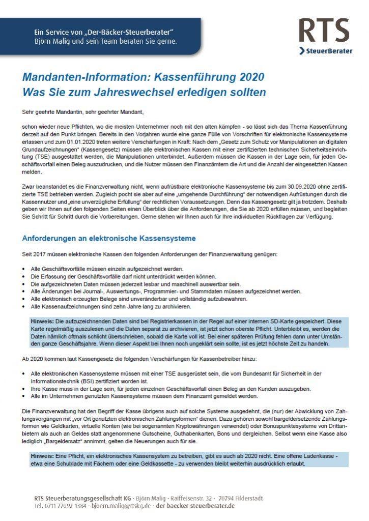 Kassenführung 2020 Merkblatt