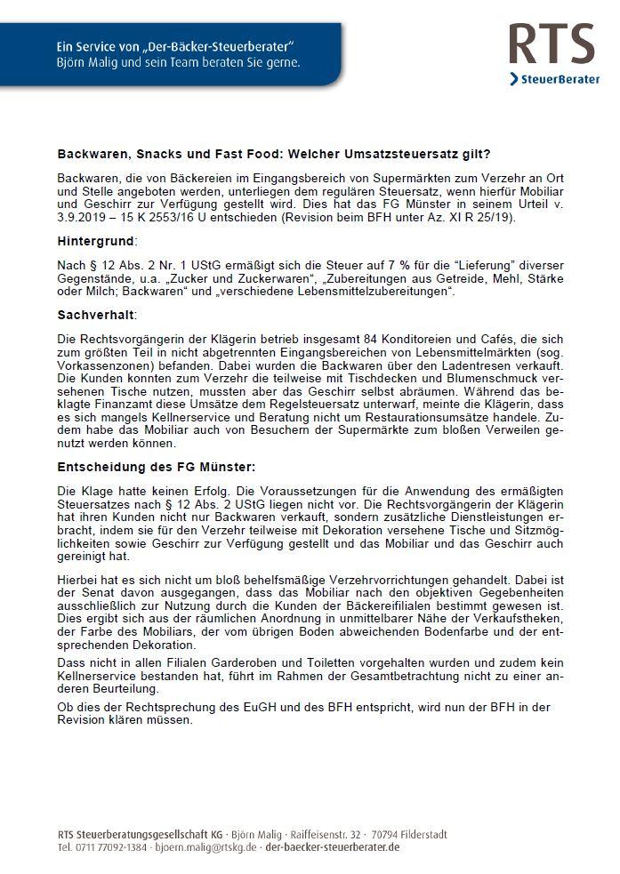 Merkblatt Umsatzsteuersatz Backwaren, Snacks, Fast Food