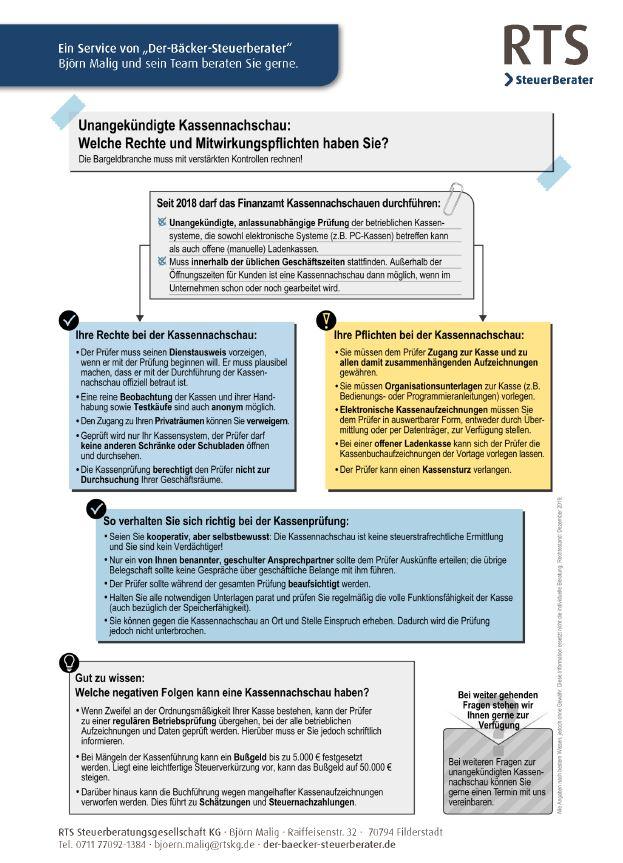 Kassennachschau, Kassenprüfung, Checkliste