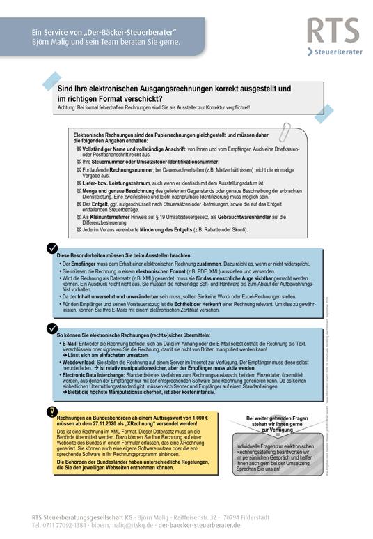 Merkblatt elektronische Ausgangsrechnungen ausstellen und im richtigen Format verschicken