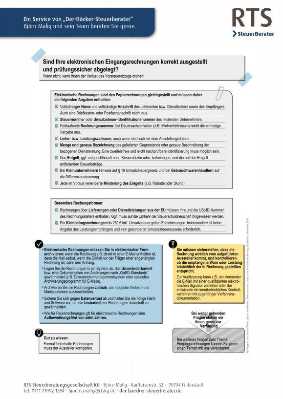 Merkblatt elektronische Rechnungen richtig ausstellen und prüfungssicher ablegen